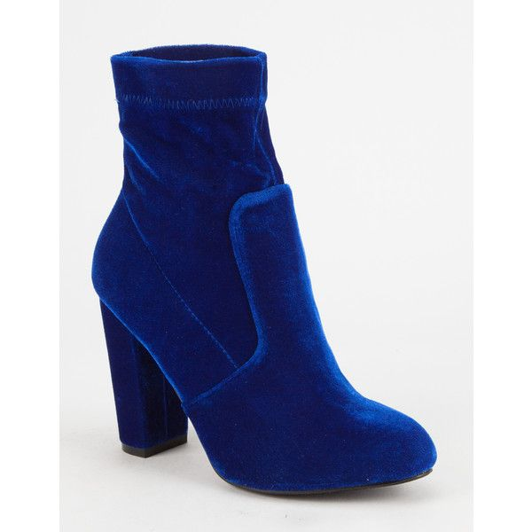 Yoki Velvet Womens Booties ($28) ❤ liked on Polyvore featuring shoes, boots, ankle booties, velvet booties, yoki boots, slouchy ankle booties, high heel boots and slouch boots