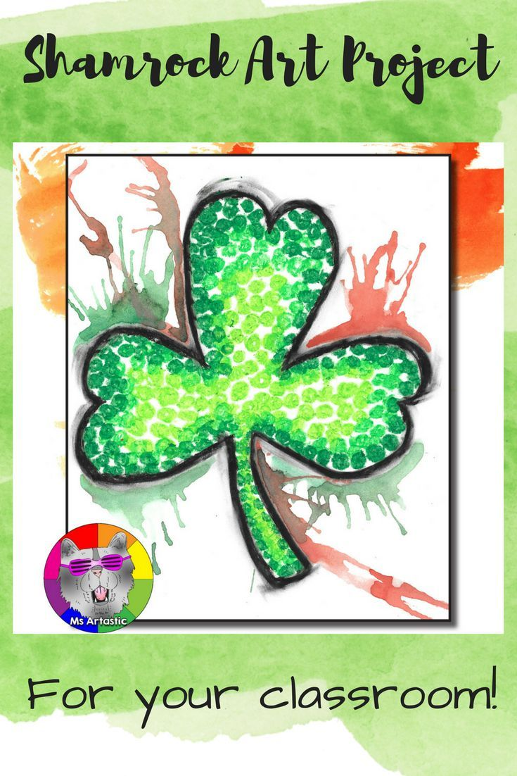 Shamrock art for St. Patrick's day! Experiment with paint drips and oil pastel impressionism to create a unique St.Patrick's Day art project with your students. This is a great way to keep them engaged and in the spirit as St. Patrick's day nears (with all things green and glorious!). Spend an afternoon creating art!