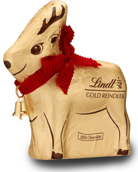 Lindt Chocolate Gold Reindeer 100g by Lindt.  Lindt's gold chocolate reindeer made from hollow, high quality, Swiss chocolate. Hand finished with Lindt's signature little bell. Ideal for gift giving.   Available to buy in singles or a discounted bulk drum of 16 reindeers.  Each reindeer measures 115mm in height.