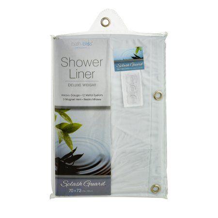 Bath Bliss Premium Splash Guard Shower Curtain Liner, White