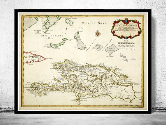 Old Map of Haiti and Dominican Republic 1725