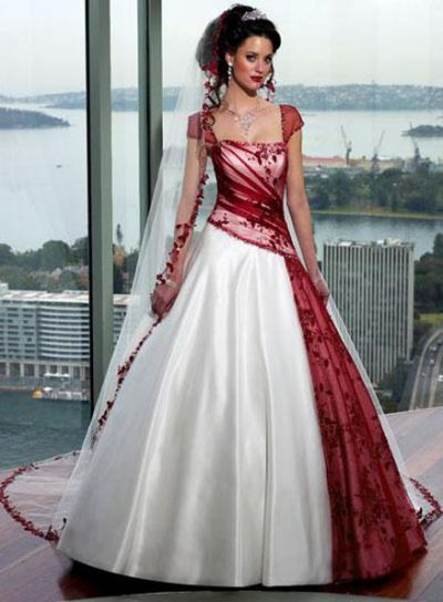 casual red ball gown wedding dress
