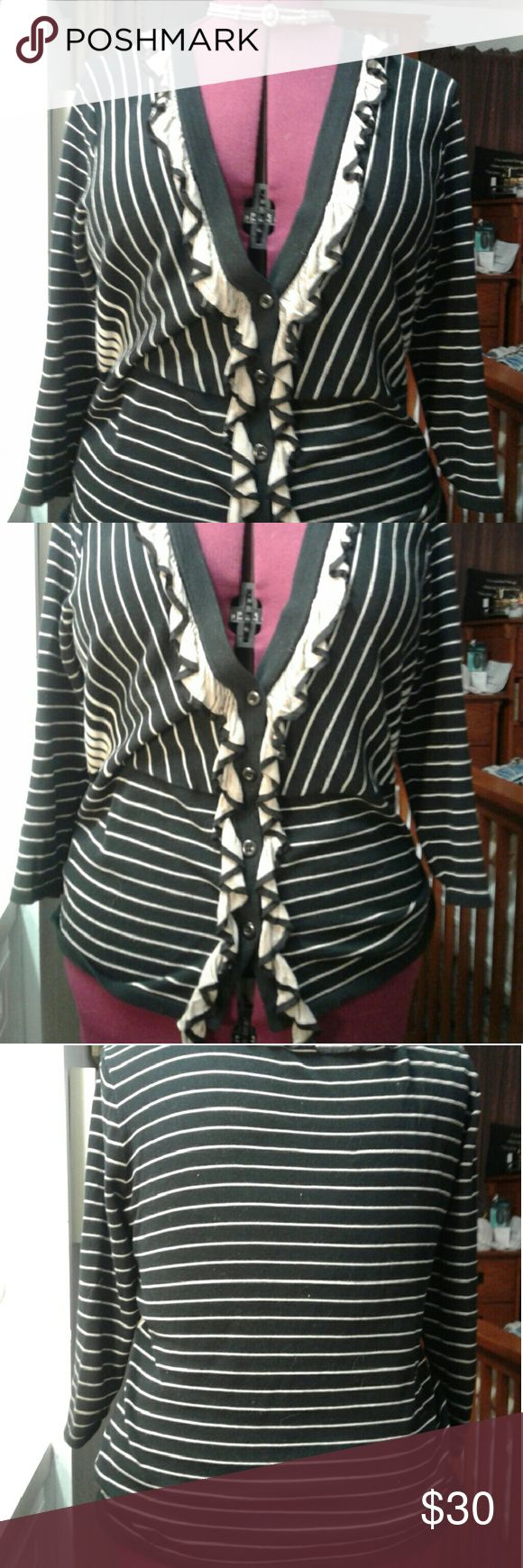 EUC CAbi Sweater Frilly CAbi striped sweater. Very flattering. No pulls or pills. CAbi Sweaters Cardigans