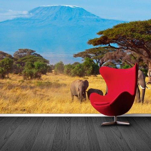 Fotobehang Olifanten | Maak het jezelf eenvoudig en bestel fotobehang voorzien van een lijmlaag bij YouPri om zo gemakkelijk jouw woonruimte een nieuwe stijl te geven. Voor het behangen heb je alleen water nodig!   #behang #fotobehang #print #opdruk #afbeelding #diy #behangen #afrika #afrikaans #safari #berg #olifanten #olifant