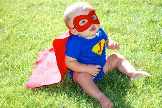 Baby super hero outfit/ Baby super hero cape/ by MelissasStitches