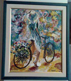 Ζωγραφική -ακρυλικό σε καμβά  Διαστάσεις:45χ55 cm  Τίτλος: Βόλτα με το ποδήλατο  Κωδ :192-17  Agathi Galan