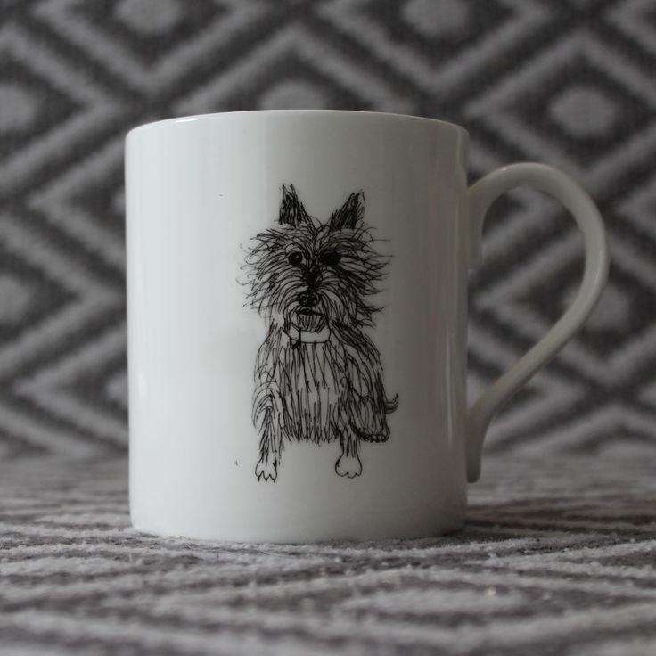 Bone china Westie mug by Nadia Sparham. Designed and made in the UK.