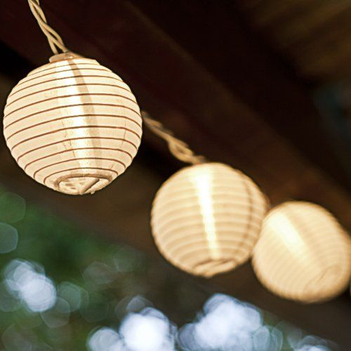 Mini Patio String Lights : Set of 10 White Indoor/Outdoor Mini Oriental Style Nylon Lantern Plug-in String Lights ...