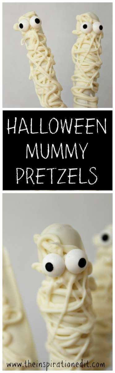 Check out these funky Halloween Mummy pretzels    #Halloween #Halloweentreats #Halloweencandy #Cookwithkids #Mummypretzels #Pretzels #Halloweenpretzels #bakes #treats #trickortreat