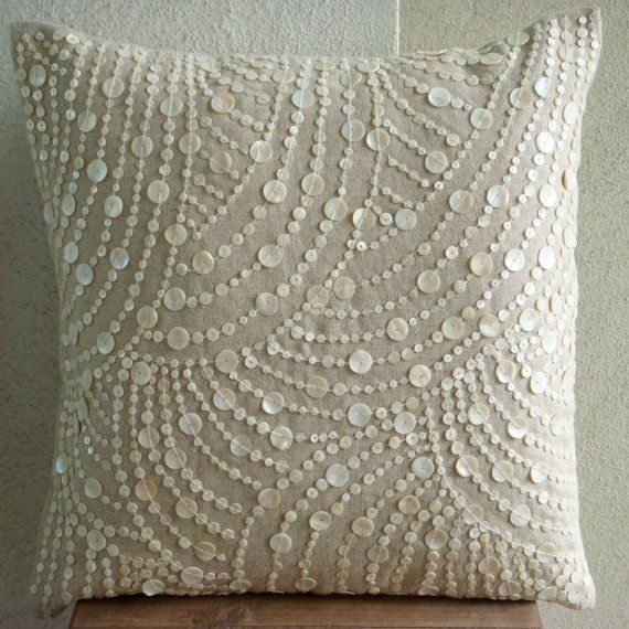 mother of pearl pillow #pillow #linen