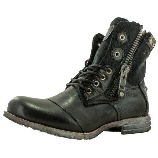 bottines lacets noires zip-bme1 femme bunker zip-bme1