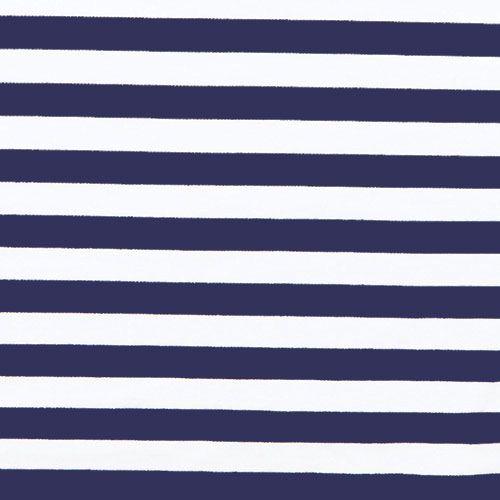 Deep Navy and White Stripe Ponte de Roma Fabric - A deep navy blue and ...