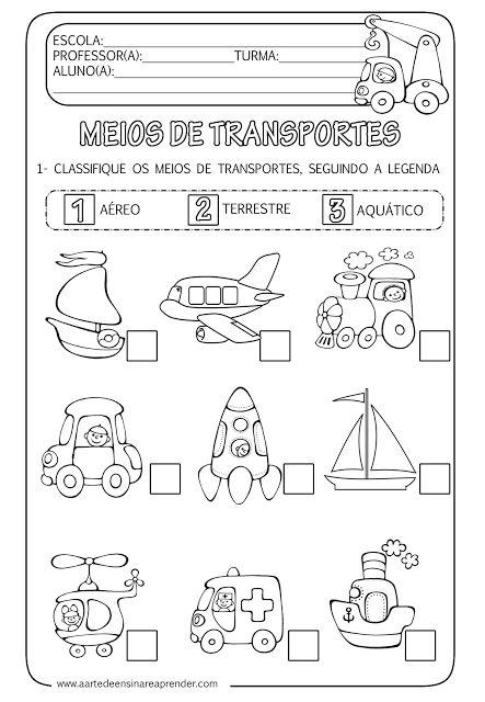 A Arte de Ensinar e Aprender: Atividade pronta - Meios de transportes…