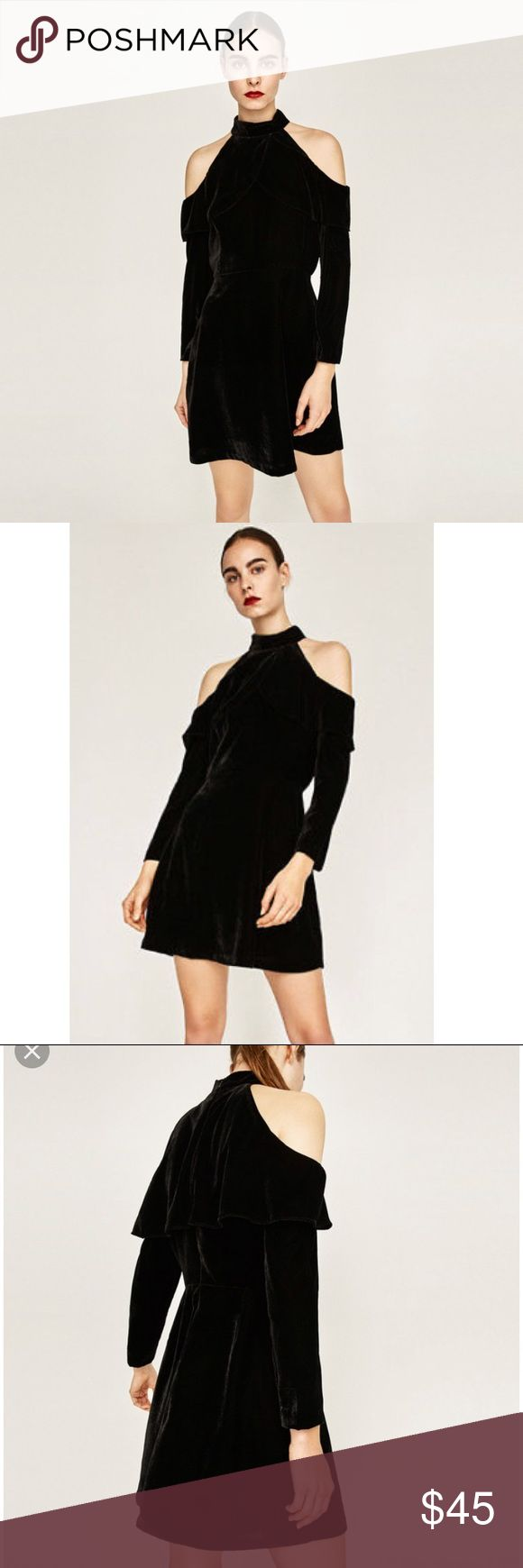 Zara black velvet dress with cutout shoulders. XS Black velvet long sleeve dress with cut out shoulders a ruffle detail. NWT Zara Dresses Long Sleeve