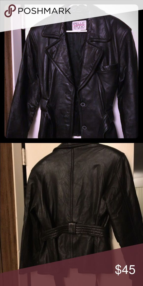 Leather coat Pelle pelle, ladies leather coat with tie around waist, soft leather Jackets & Coats