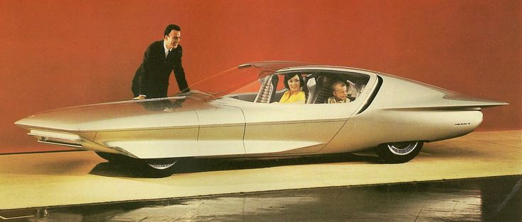 Firebird IV concept car as seen in the Futurama exhibit at the 1964 World's Fair, later reworked as the 1969 Buick Century Cruiser which included a refrigerator, TV and reclining seats.
