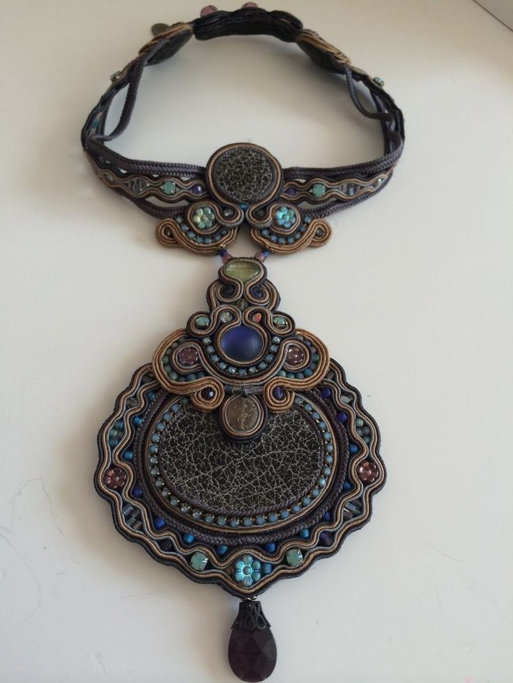 DORI CSENGERI HAUTE COUTURE SOUTACHE CHOKER IN GRAY/BLUES/GREENS! GORGEOUS! #Choker
