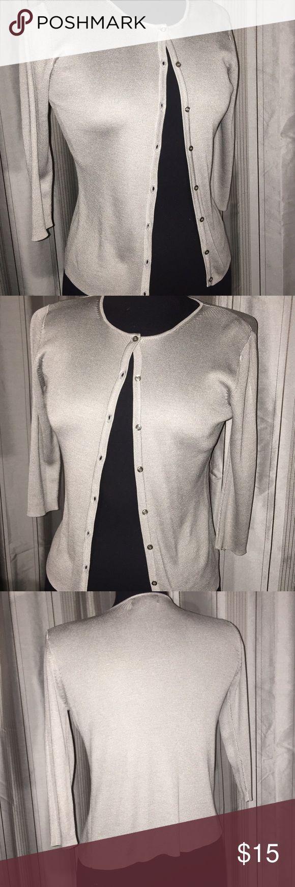 Banana Republic Silver Cardigan  💚❤️Host Pick❤️💚 Beautiful 100% silk silver Cardigan by Banana Republic is a size XS. Host pick on 12/11!! Banana Republic Sweaters Cardigans