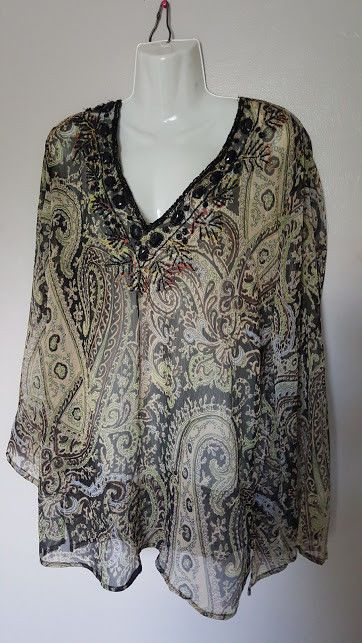 7de58a9078c43 Raviya Size XL Multi-Color Sheer Paisley Print Beaded Cover up #Raviya # CoverUp