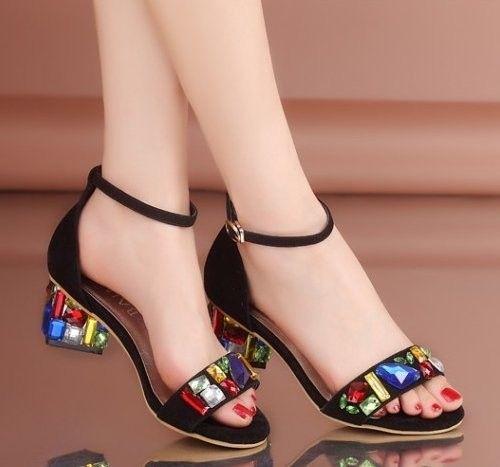 stiletto ankle strap rhineston high heel sandals