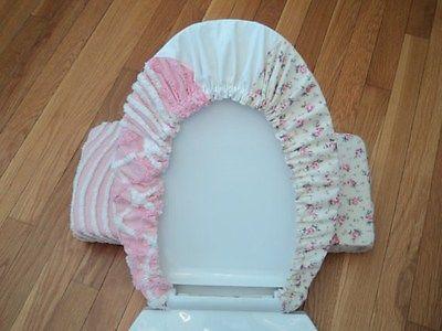 Shabby Cottage Vintage Crochet Pink Rose Chic Toilet