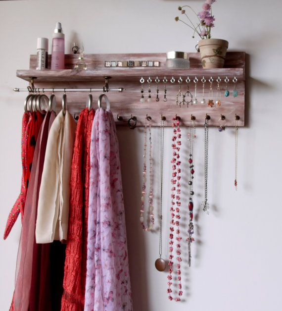 Scarf and Jewelry holder with shelf. Earrings display. wall mounted necklace…