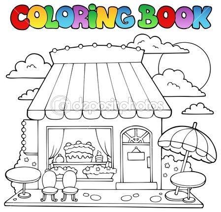 para colorear libro tienda de golosinas de dibujos animados - ilustración vectorial
