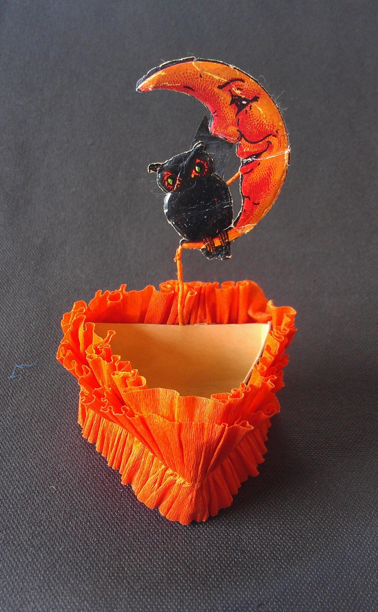 Vintage halloween paper decorations - 1920 S Halloween Candy Nut Cup Vintage Owl And Moon Party Favor