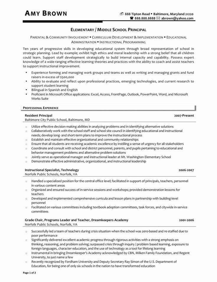Best of elementary school principal resume examples in