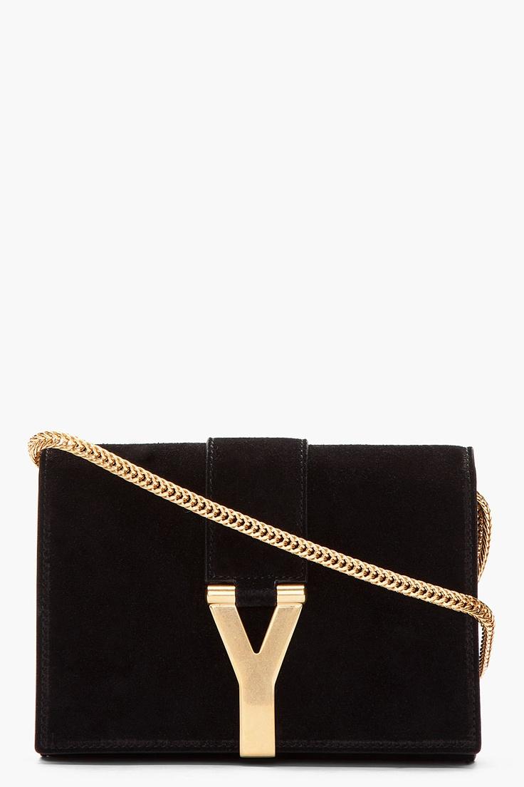 SAINT LAURENT Black suede and gold logo purse
