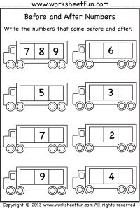 Before and After Numbers – 5 Worksheets