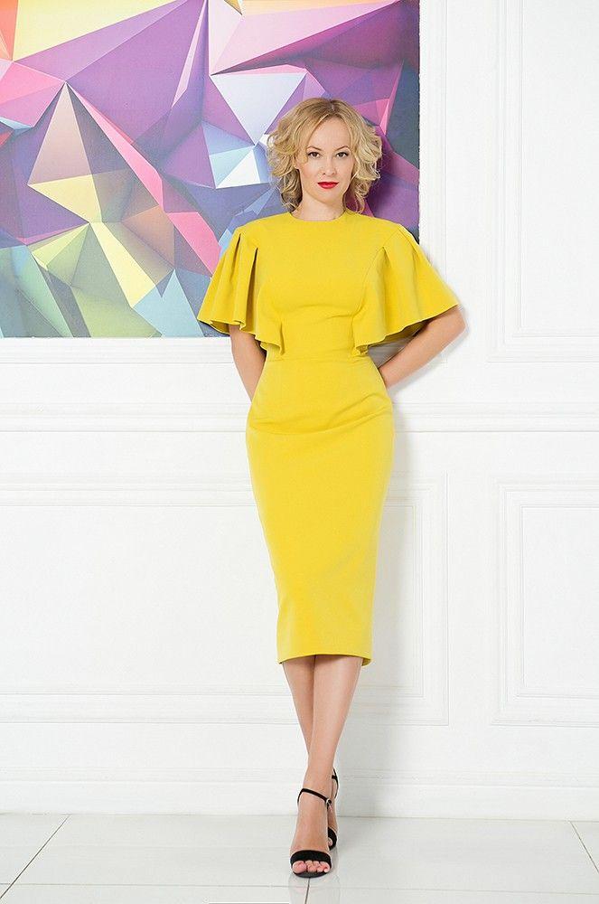 Заказать Горчичное платье 172D.8 в интернет магазине. Доставка по Москве. Звоните ☎ +7 (495) 212-21-18.