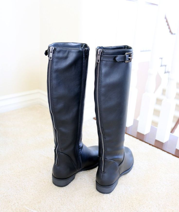 pace-black-riding boots leather flat rear zip