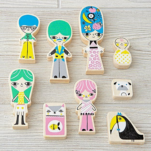 A-Frame Dollhouse Family (Set of 9) | The Land of Nod by Suzy Ultman