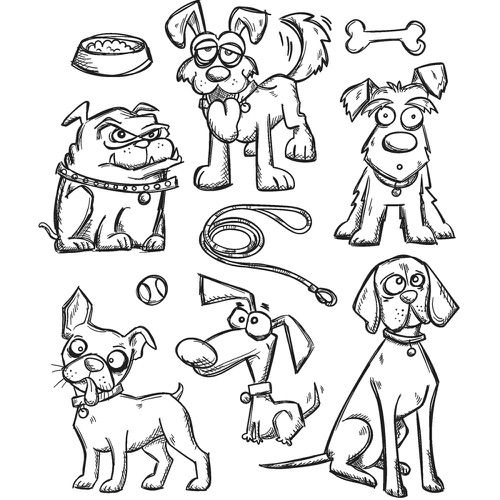 PREORDER Tim Holtz Cling Mounted Stamp Sets - CRAZY DOGS                               $16.99