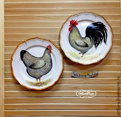 "Тарелка фарфоровая ""Петух -Welcom "" - тарелка,тарелка с росписью,тарелка на стену"