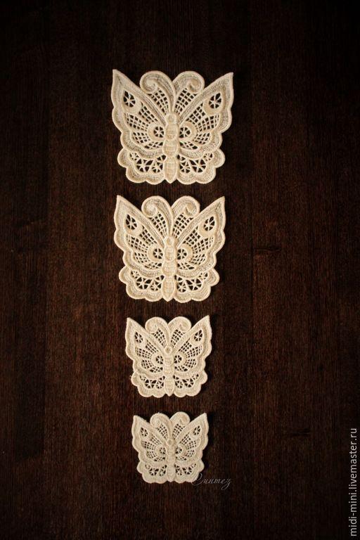 Купить Ажурные бабочки аппликация - декор для одежды, декорирование интерьера, оформление подарка, украшение букетов