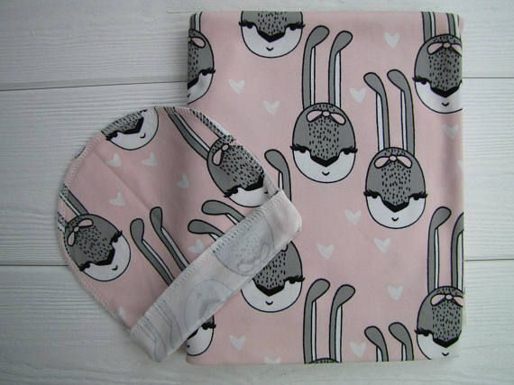 Baby swaddle set. Baby swaddle blanket and beanie. Baby cotton
