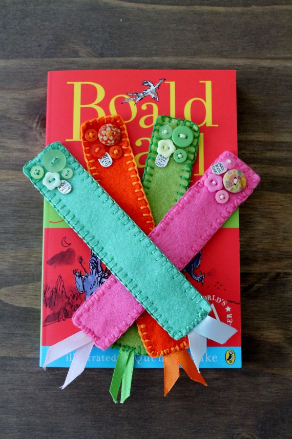 Felt Bookmark  Buttons and Ribbon by FeltAmazed on Etsy, £3.00