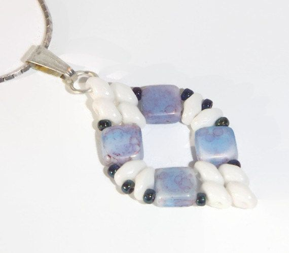 Bead Pendant, Marbled, Blue necklace, Blue Marbled Pendant, Beaded Pendant - pinned by pin4etsy.com