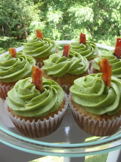Cheddar Chive and Bacon Cupfakes with Avocado Frosting (cute idea for April Fool's for kids!)