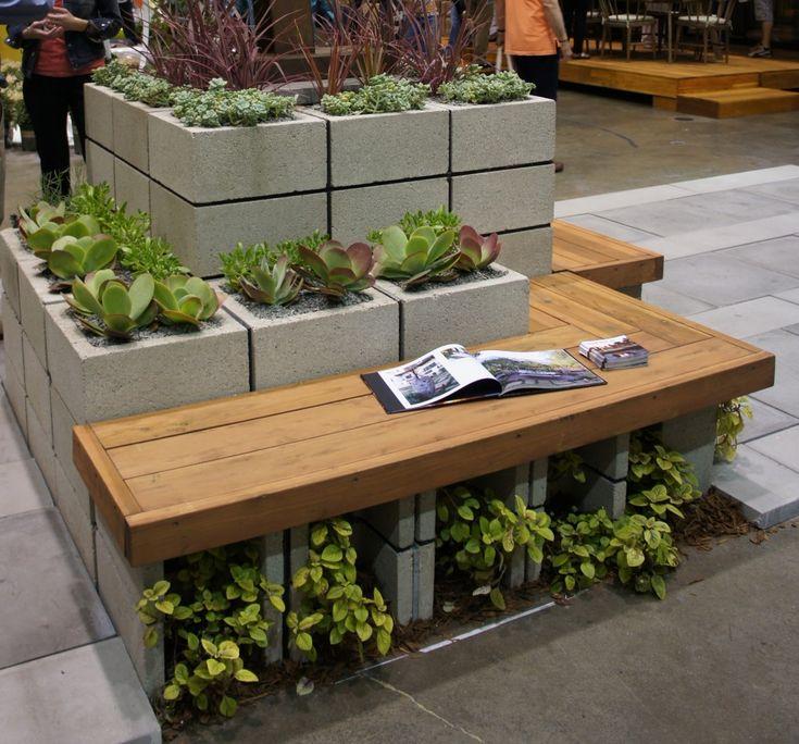 Concrete Garden Benches Modern Garden Decorating With Cinder Block Planter  With Bench Garden Concrete