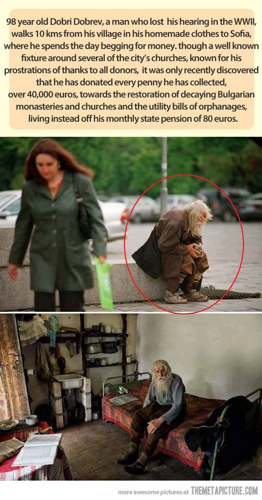 This old abandoned man is a hero