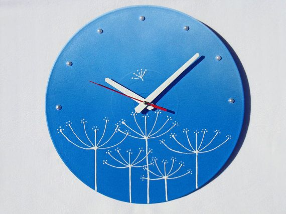 Wall Clock Dill in the Sky, blue wall clock, modern wall clocks, wall clocks with flowers, blue and white wall clock, unique wall clocks.