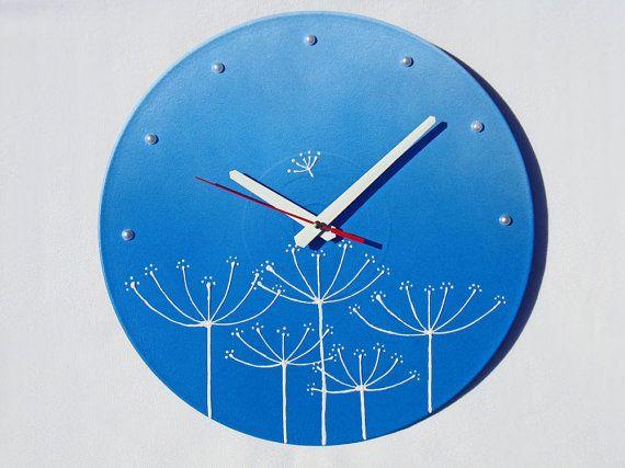 Wall Clock blue wall clock modern wall clocks by OlgaArtShop