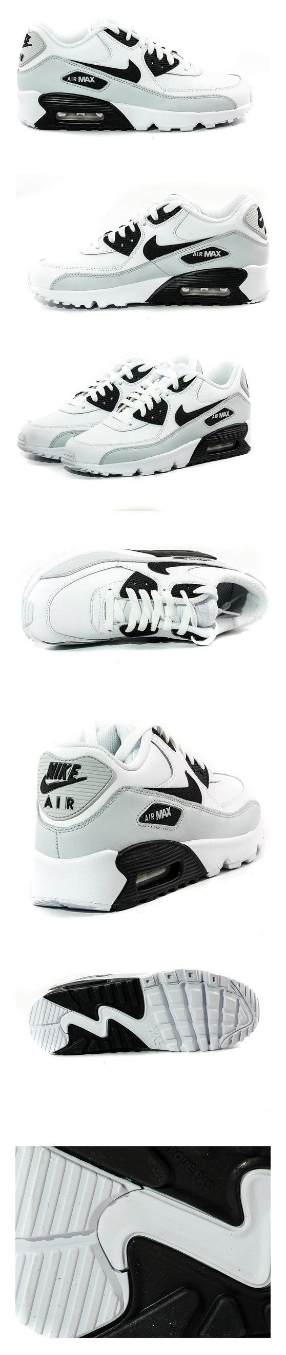 $90 - Nike Youths Air Max 90 White Black Leather Trainers 35.5 EU #shoes #nike #sneakers #girls #departments #boys