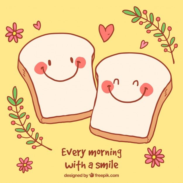 Romantic background with cute toast characters Free Vector