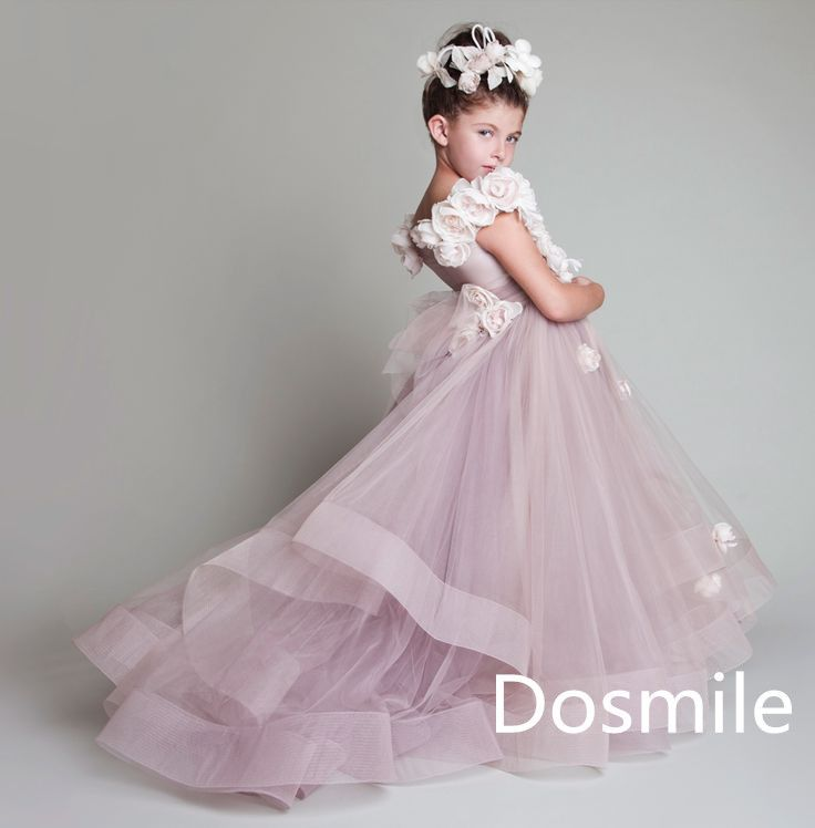 Haute Couture One Shoulder Pink Lavender Full Length Multilayers Pleated Ruffles Ball Gown Tutu Flower Girl