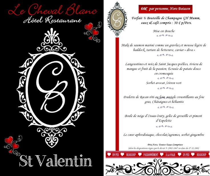 2015 - Menu St Valentin Le Cheval Blanc   made by NFM