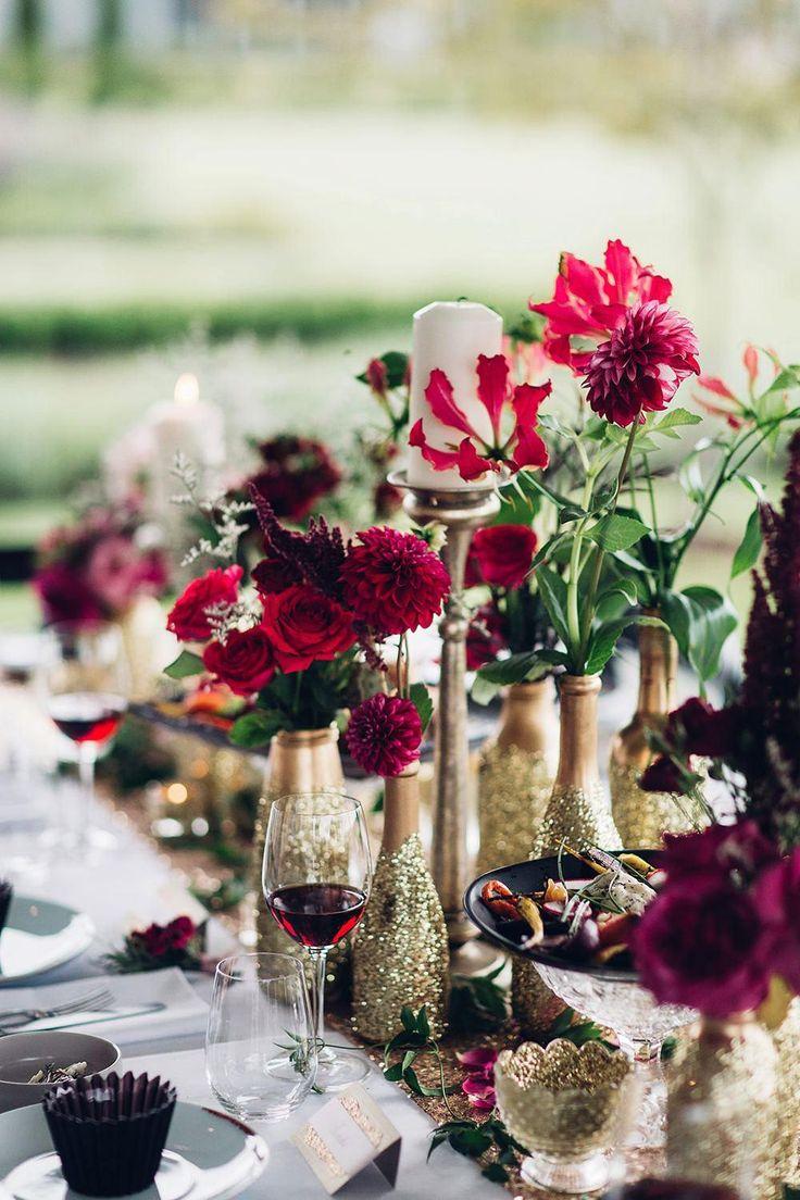 Rote Hochzeitsdekoration: 80 inspirierende Fotos – Blumen